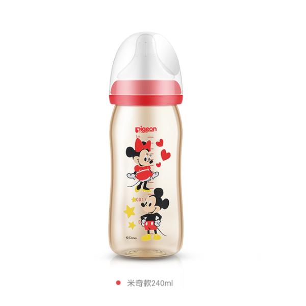日本贝亲pigeon母乳实感塑料奶瓶240ml 米奇