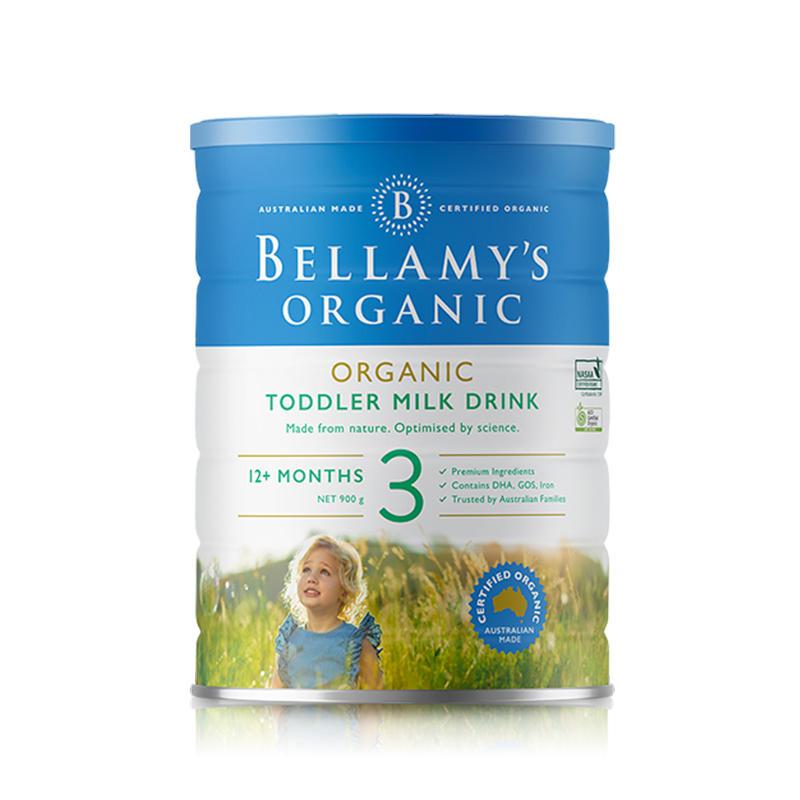 【2罐装】澳大利亚贝拉米3段 1周岁以上婴幼儿有机奶粉900g*2罐(新老包装随机发货)