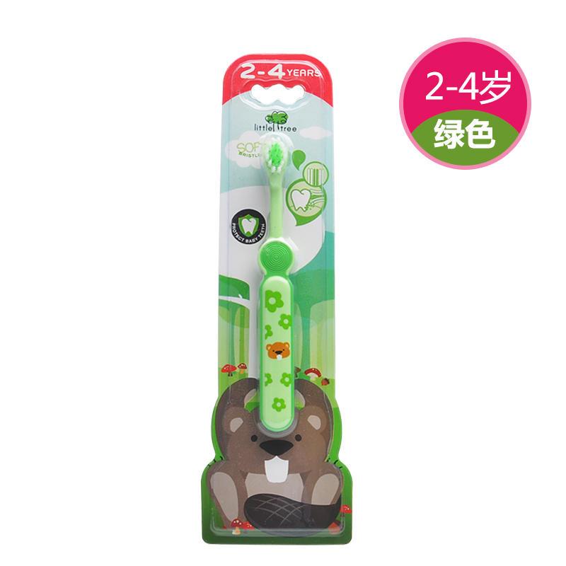 英国小树苗婴儿牙刷软毛宝宝牙刷2-4岁 绿色