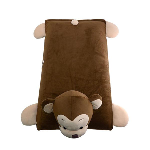泰国ecolifelatex 天然乳胶  儿童 卡通 乳胶枕 深棕色-机智猴