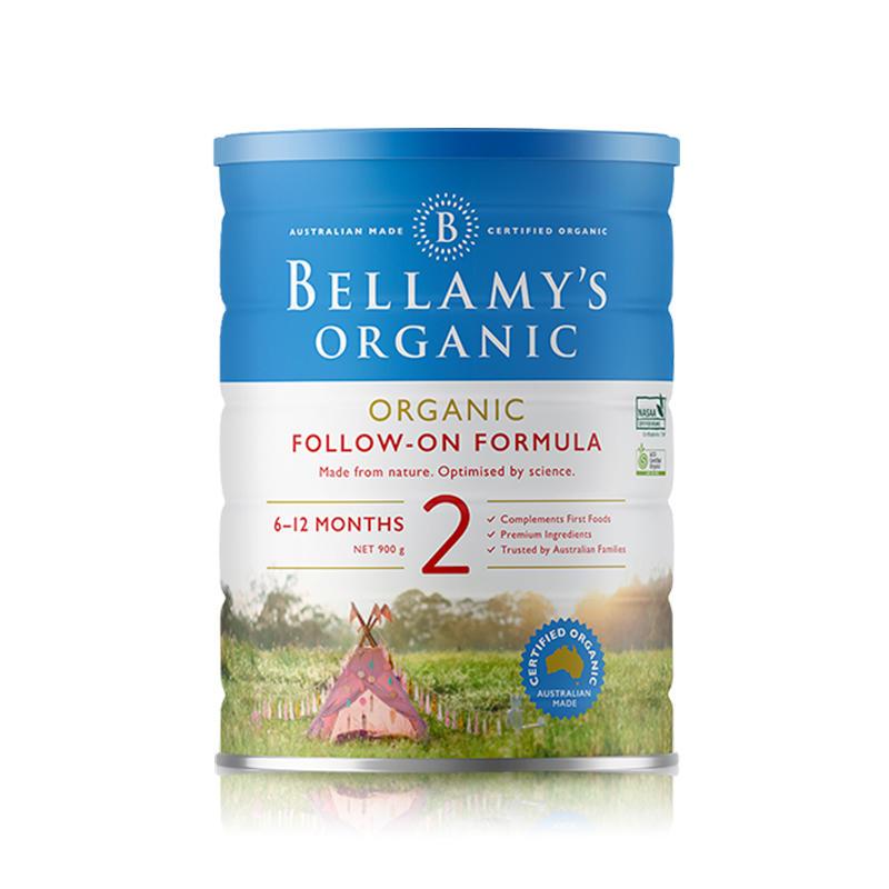 【澳洲直邮】澳大利亚贝拉米2段 6-12个月婴幼儿有机奶粉900g(3罐/6罐起订) 6罐