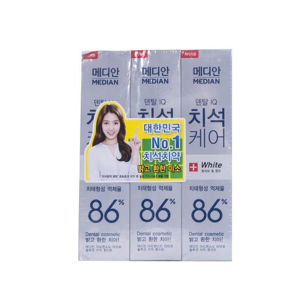 韩国median麦迪安86牙膏白色120g*3支