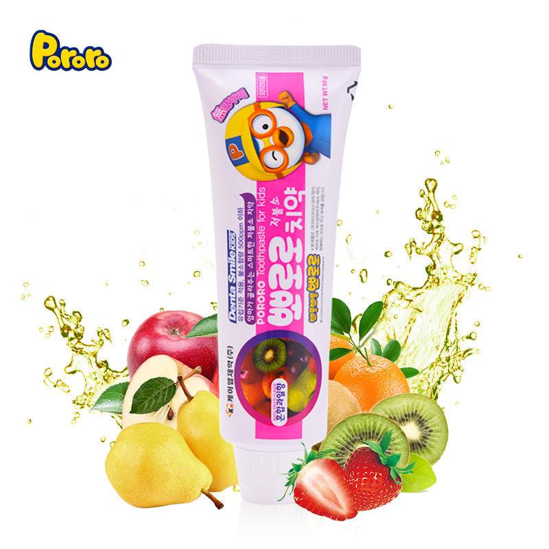 Pororo 啵乐乐 儿童牙膏 可吞咽 微量无害 微量含氟 防蛀固齿 果味牙膏(混合味)90g