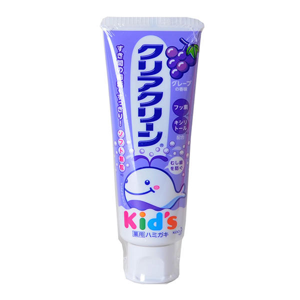 日本Merries花王婴幼儿童防蛀护齿可吞咽木糖醇牙膏葡萄味70g