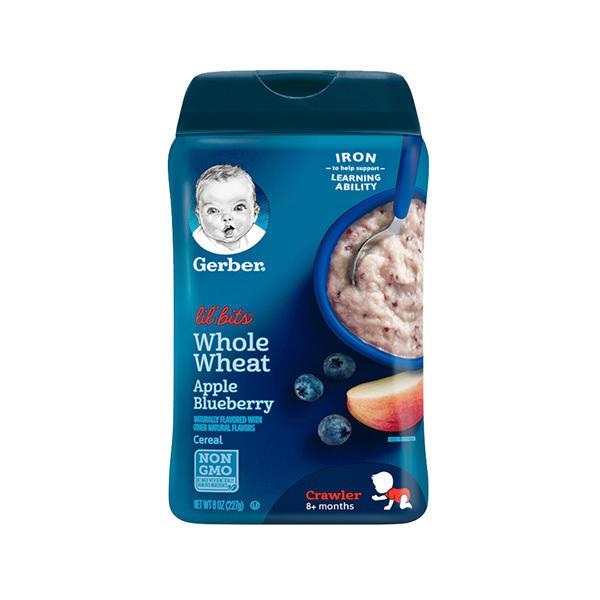 美国嘉宝Gerber婴幼儿辅食苹果蓝莓全麦米粉227g/罐