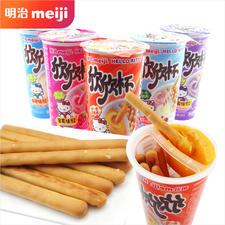 日本明治Meiji欣欣杯手指饼干条25g*6杯 草莓味
