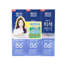 韩国median麦迪安86牙膏蓝色120g*3支