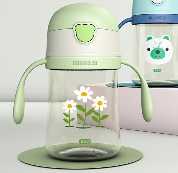 韩国杯具熊 儿童水杯宝宝学饮杯防摔漏幼儿园便携塑料杯夏季卡通吸管杯 皮皮花240ml